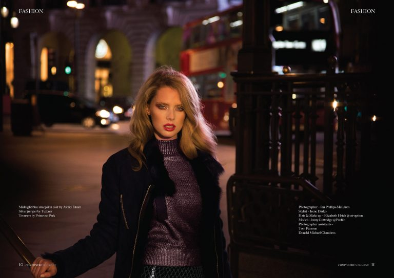 Fashion shot at night in London