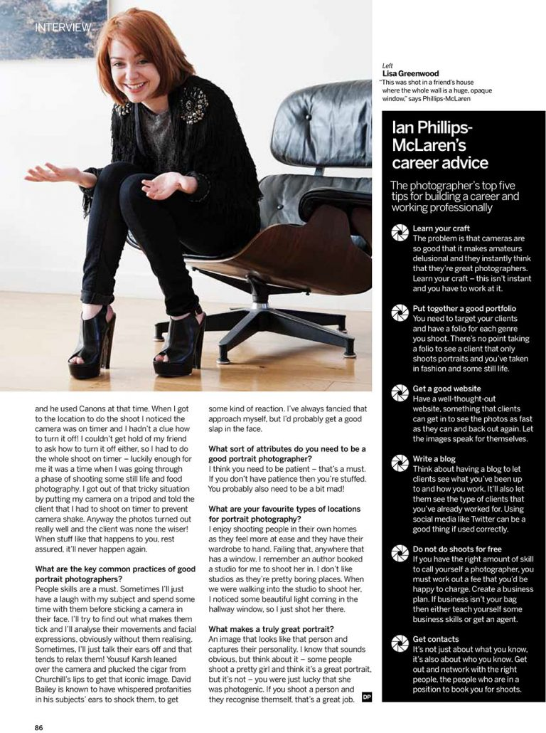 Digital Photography magazine interview portrait photographer london